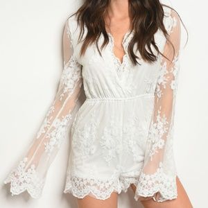 Pants - LAST ONE! White lace romper with bell sleeves